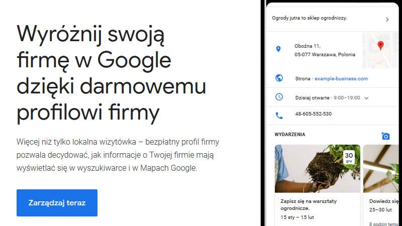 Google moja firma jak dodać firmę?